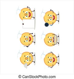 Cartoon character of savory pie with various chef emoticons....