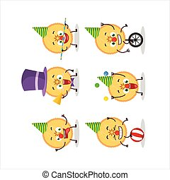 Cartoon character of savory pie with various circus shows....