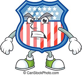 cartoon character of shield badges USA with angry face