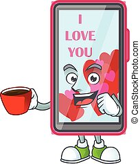 cartoon character of smartphone love with a cup of coffee