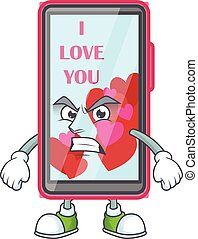 cartoon character of smartphone love with angry face