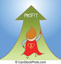 cartoon character of super man get profit up