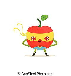 Cartoon character of superhero apple with arms akimbo -...