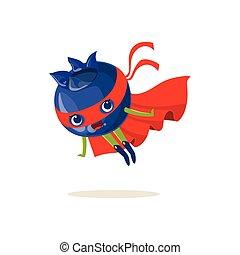 Cartoon character of superhero blueberry flying up - Cartoon...