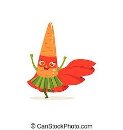 Cartoon character of superhero carrot have fun - Cartoon...