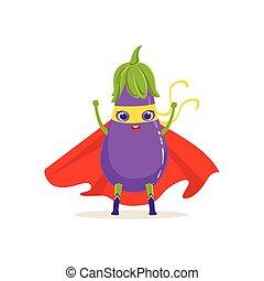 Cartoon character of superhero eggplant with hands up -...