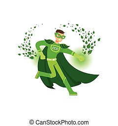 Cartoon character of superhero in fight action. Man avenger...