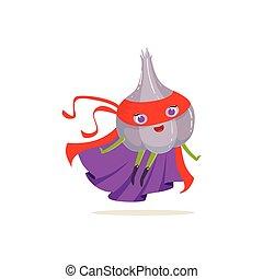 Cartoon character of superhero onion in flying pose -...