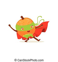 Cartoon character of superhero orange with hands up - Funny...
