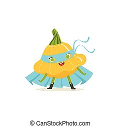 Cartoon character of superhero pattypan squash