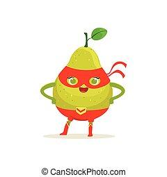 Cartoon character of superhero pear with arms akimbo -...