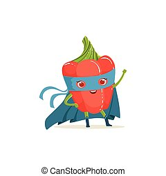 Cartoon character of superhero pepper with hand up - Cartoon...