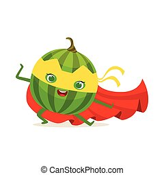 Cartoon character of superhero watermelon in fighter pose -...