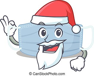 cartoon character of surgical mask Santa having cute ok ...