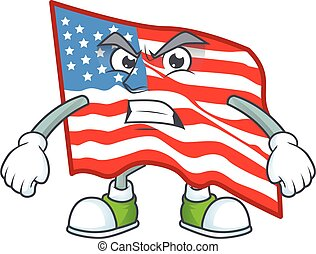 cartoon character of USA flag with angry face