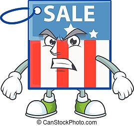 cartoon character of USA price tag with angry face