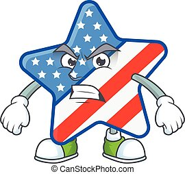 cartoon character of USA star with angry face