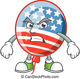 cartoon character of USA stripes balloon with angry face