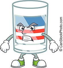 cartoon character of USA stripes glass with angry face