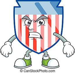 cartoon character of USA stripes shield with angry face