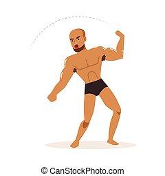 Cartoon character of wrestler in fighting action. ...