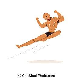 Cartoon character of wrestler in flying kick action. ...