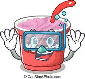 cartoon character of yogurt wearing Diving glasses