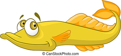 Cartoon Character Pike Isolated on White Background. Vector.