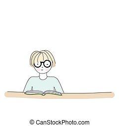 Cartoon character reading a book