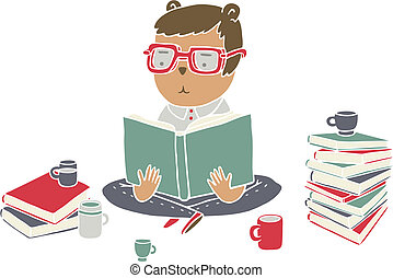 Cartoon character reading a stack of books, drinking tea