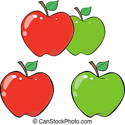Red and Green Apple. Collection Set