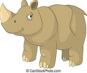 Cartoon Character Rhino Isolated on White Background. Vector...
