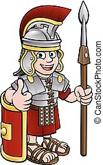 Cartoon Character Roman Soldier - An ancient Roman soldier...