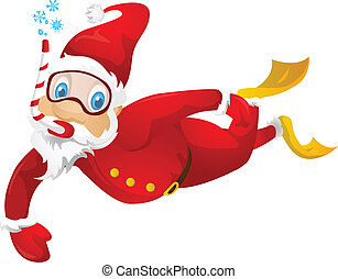 Cartoon Character Santa Claus Isolated on Grey Gradient Background. Diver. Vector EPS 10.