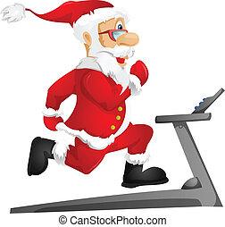 Santa Claus - Cartoon Character Santa Claus Isolated on Grey...