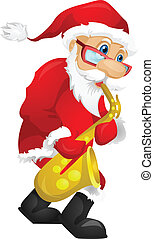 Santa Claus - Cartoon Character Santa Claus Isolated on Grey...