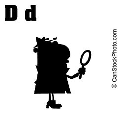 Detective With Letters D - Cartoon Character Silhouetted...