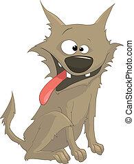 Cartoon Character Sly Dog Isolated on White Background....