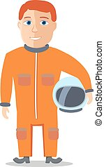 Cartoon Character Spaceman with Cpace Suit. Vector