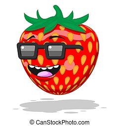 Cartoon character strawberry with glasses smile on white isolated background. Vector image