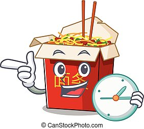 cartoon character style chinese box noodle having clock
