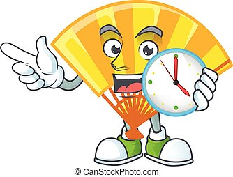 cartoon character style gold chinese folding fan having clock