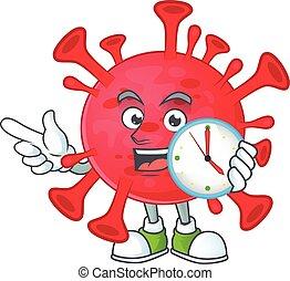 cartoon character style of cheerful coronavirus amoeba with clock