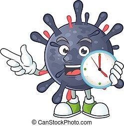 cartoon character style of cheerful coronavirus epidemic with clock