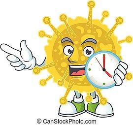 cartoon character style of cheerful coronavirus pandemic with clock