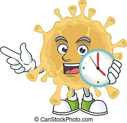 cartoon character style of cheerful coronavirus particle with clock