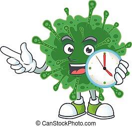 cartoon character style of cheerful coronavirus pneumonia with clock