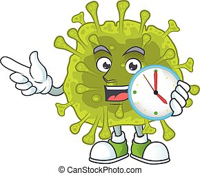 cartoon character style of cheerful coronavirus spread with clock