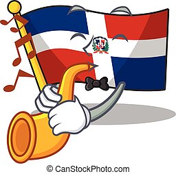 cartoon character style of flag dominican republic performance with trumpet. Vector illustration