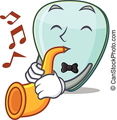 cartoon character style of guitar plectrum performance with trumpet